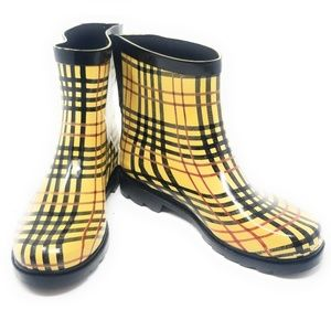 Women's Rubber Ankle Rain Boots, #3163, Checkers